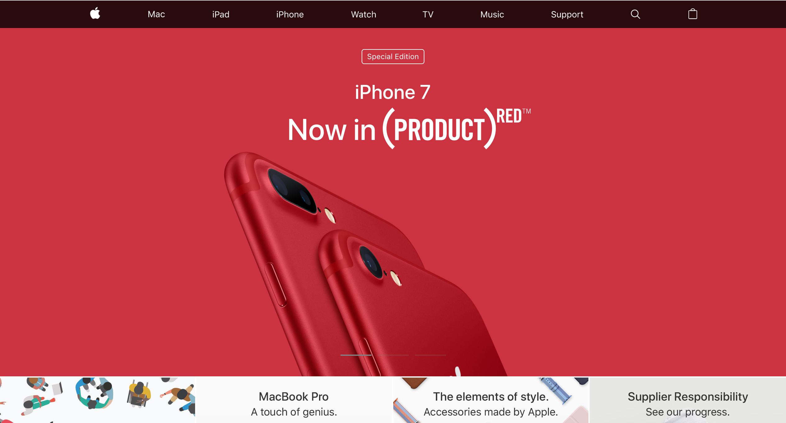 Apple Homepage Navigation